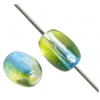Glass Bead Oval 7X5mm Blue/Green/Yellow - Strung